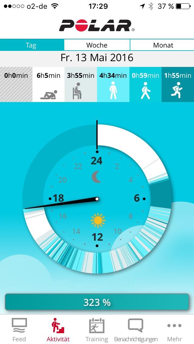 Mein erster Tag mit der Polar Flow-App. Weiße Abschnitte zeigen Ruhephasen, dunklere sind die Aktivitätsphasen. Schick!