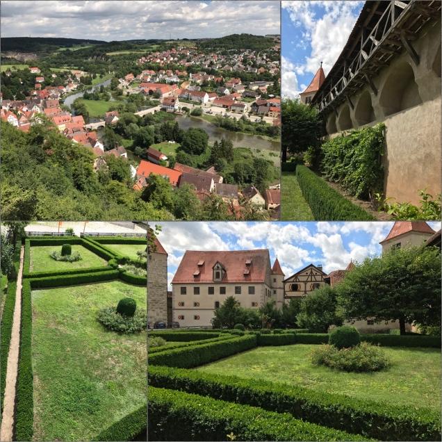 Oben links: Ausblick von der Harburg auf den Ort Harburg, oben rechts: Blick auf die Burgmauer mit dem Rundweg, unten links: vom Gang auf der Burgmauer hinab auf den schön gepflegten Garten, unten rechts: der Innenhof – hier lässt es sich ganz gut aushalten!