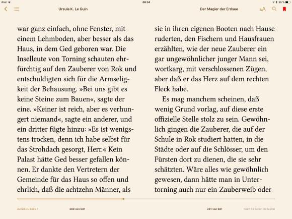 Auf dem iPad: Hier ist nun kein Kapitelbeginn, wir sind mitten im Text – worauf genau bezieht sich das Lesezeichen?